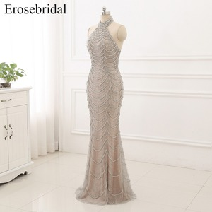 Image 4 - 2019 Mermaid suknie wieczorowe długie Erosebridal Sliver frezowanie Off The Shoulder Prom sukienki na przyjęcie bez pleców Robe De Soire ZCC03
