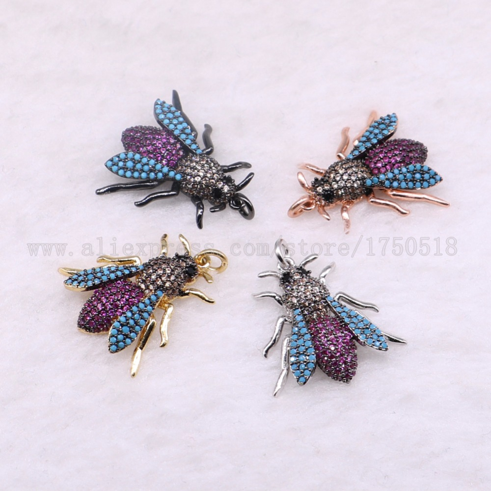 5 pieces small bugs pendants charm fly insects hexapod bee fly jewelry pendants micro paved mix color pendants pets beads 3072