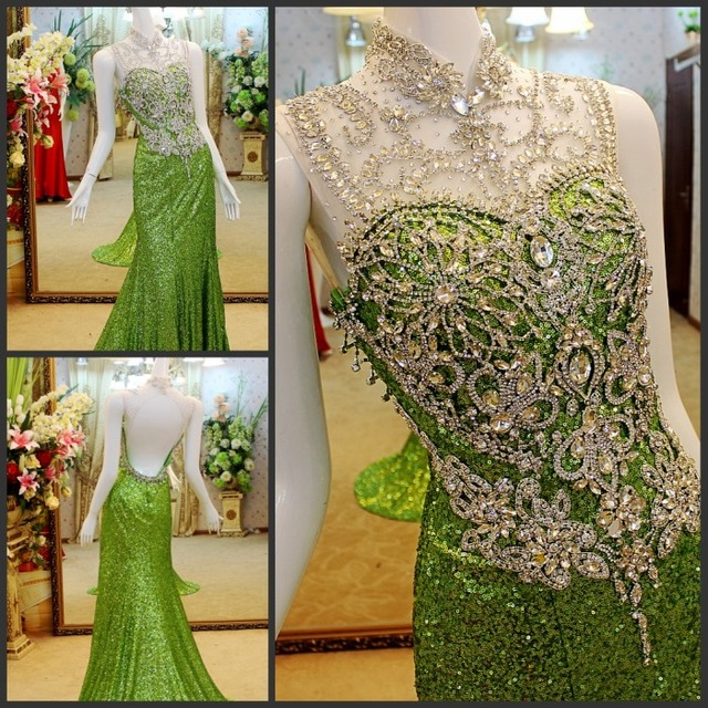 Custom Made Real Photo Sirène Paillettes Tulle Cristal Perlé Diamant Vert De Luxe Sexy Longue Robes De Soirée Robes De Soirée EX8M