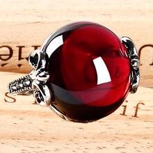 Plata de ley 925 Natural piedras semi-preciosas anillos granate rojo Corindón rojo cornalina anillos novia regalo del Día de San Valentín
