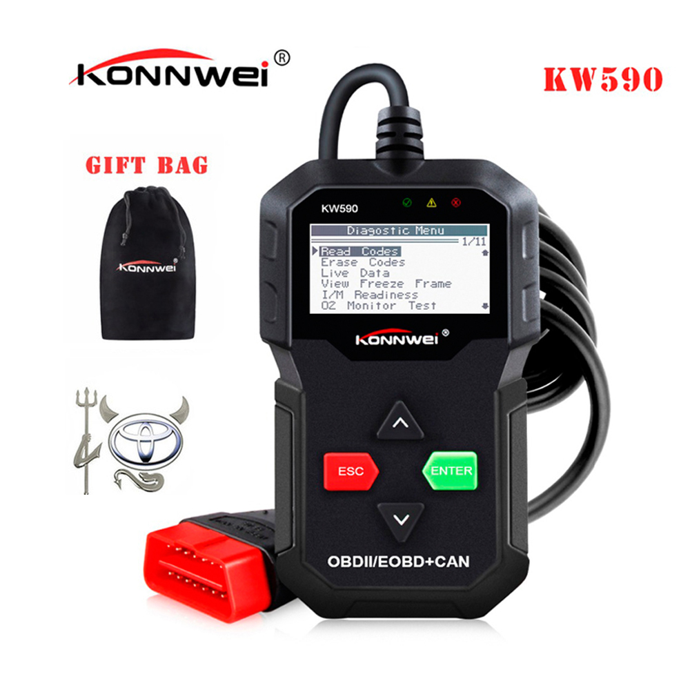 Best ODB OBD2 Car Diagnostic Scanner KONNWEI KW590 OBD2 Scanner Multi-languages OBD2 Autos scanner in Russian Better Than AD310 factory promotion obd2 16pin to db9 rs232 for car diagnostic extension cable adapter scanner wholesale 25pcs lot dhl ems