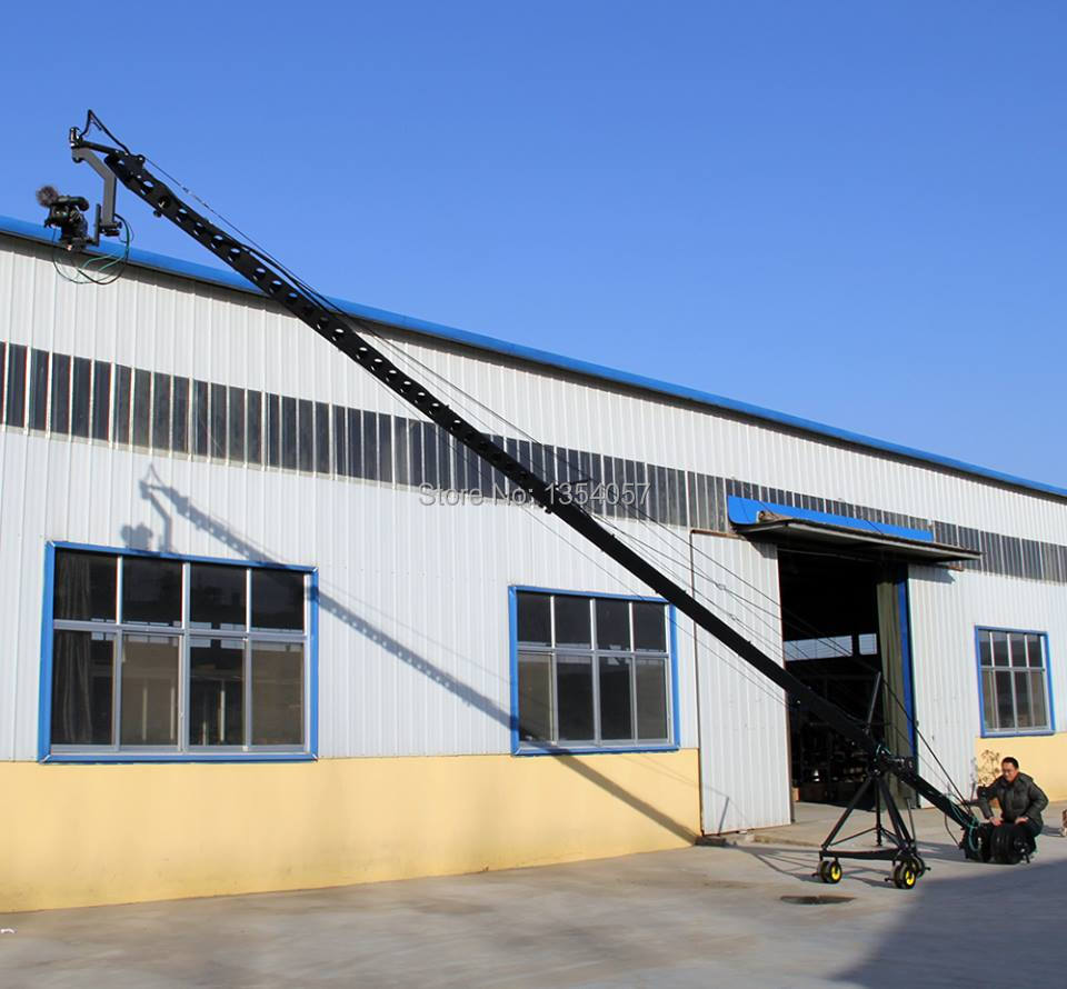 Remote 3 axis PTZ head professional jimmy jib Video Camera Crane for sale 8m professional dv camera crane jib 3m 6m 19 ft square for video camera filming with 2 axis motorized head
