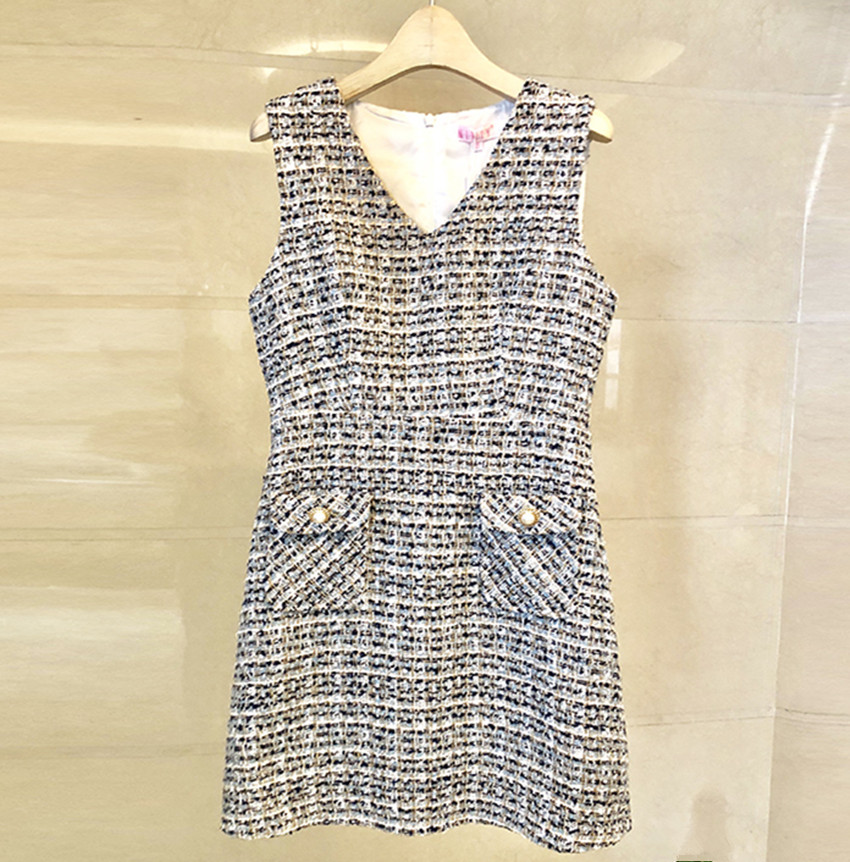 HAMALIEL Elegant 2018 Women Vest Wool Blends Dress Fall Winter Tweed Small Fragrance V Neck Dress Casual Slim Sleeveless Dress