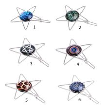 Vintage Fresh Style Ladies Metallic Star Shaped Hair Clip Jewelry Glass Dome Leopard Pattern Hairpin Updo DIY Styling Barrette hairpin lace entry tutorial crochet hairpin pattern style pattern daquan hand knitted practical stitch technique woven books