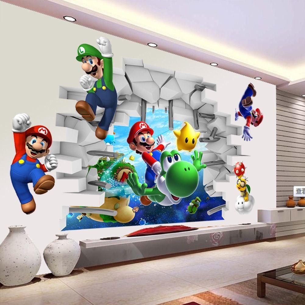 Cartoon children games super mario 3d vinyl art wall for 3d home decoration games