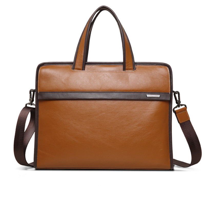2019 New Natural Cowskin Full Genuine Leather Men's Briefcase Fashion Large Capacity Business Bag Male Shoulder Laptop Bag