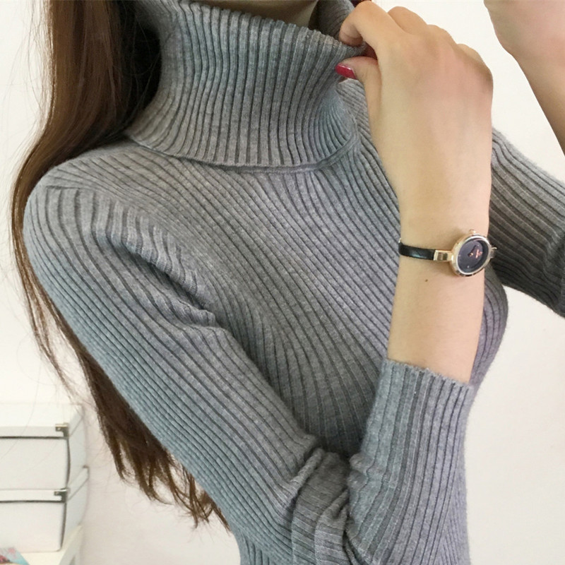 Women Turtleneck Pullovers Sweater Female Knitted Slim Pullover Tops Ladies All-match Basic Thin Warm Long Sleeve Shirt Clothing