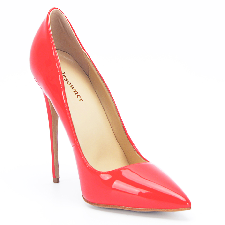 stylesowner Brand Women Shoes High Heels Women Pumps 12CM 10.5CM Heels Shoes  Sexy Pointed Toe Red Wedding Shoes 34-43EU fdb0a18516c3