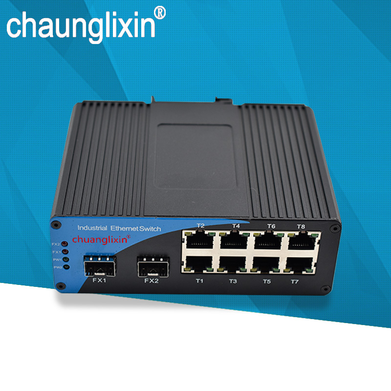 Port ethernet POE 155 M 8 Port ethernet 10/100 M port ethernet 2 SFP slot 100 M convertisseur Fiber optique industriel LC