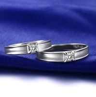 18 천개 화이트 골드 천연 다이아몬드 커플 반지 0.08 + 0.06cwt 정품 다이아몬드 보석 웨딩 밴드 약혼 반지