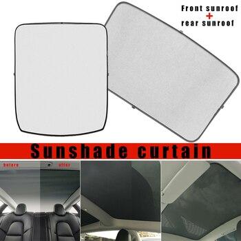 Glas Dach Sonnenschirm Vorne + Hinten Auto Dachfenster Rollo Shading Net für Tesla Modell 3 DXY88
