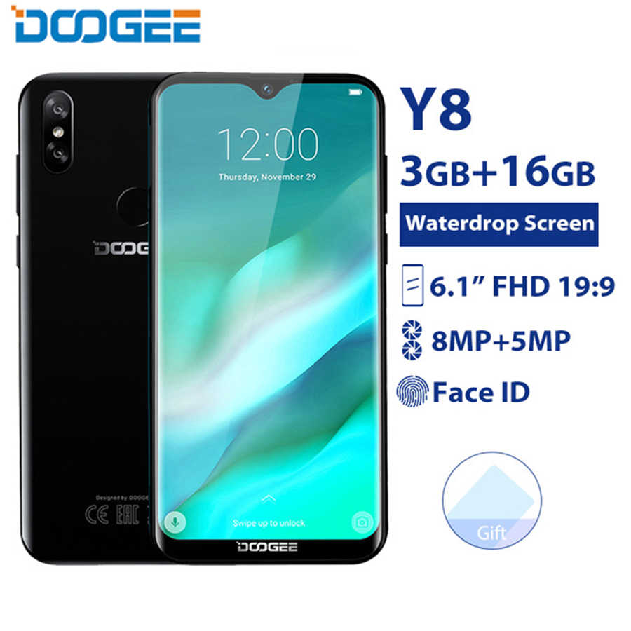Oryginalny DOOGEE Y8 Android 9.0 telefon komórkowy 6.1 cal ekran 19:9 MTK6739 Quad Core 3 GB 16 GB 8MP 3400 mAh odcisk palca 4G smartphone
