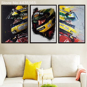 Posters and Prints Ayrton Senna Da Silva F1 Racer Champion Art Poster Wall Picture Canvas Painting for Living Room Home Decor(China)