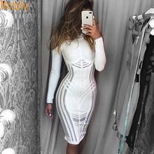 Осеннее Новое Сексуальное Женское Бандажное платье с длинными