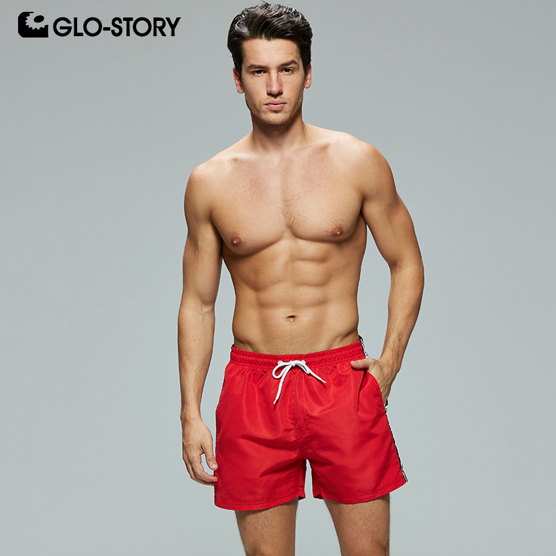 GLO-STORY Men's 2019 Fashion Side with Striped and Letter Print Beach   Board     Shorts   Men Basic Casual Surf   Short   Pants MTK-7775