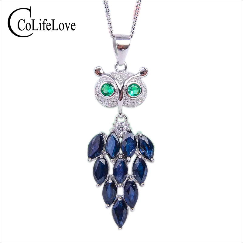 Fashion silver Owl pendant 10 pcs natural midnight blue sapphire owl pendant 925 sterling silver sapphire jewelry for Party 10 pcs 925 sterling silver crimp
