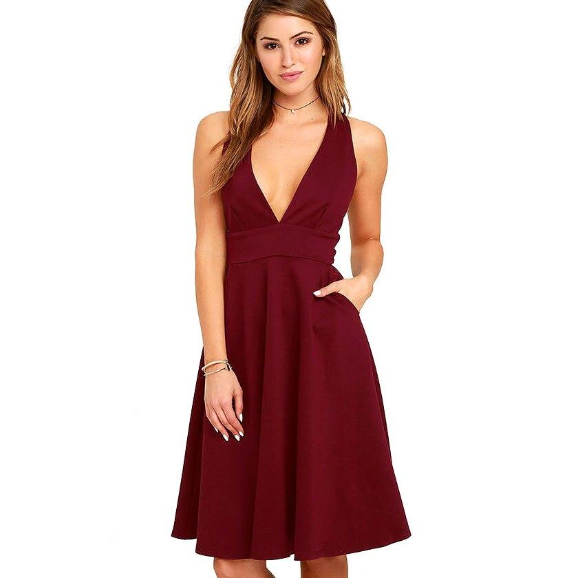 a2f7931ab827 Джесси Винсон Женская мода Глубокий v-образным вырезом без рукавов  трапециевидной формы платье вечернее платье до колен Vestidos Сексуальная