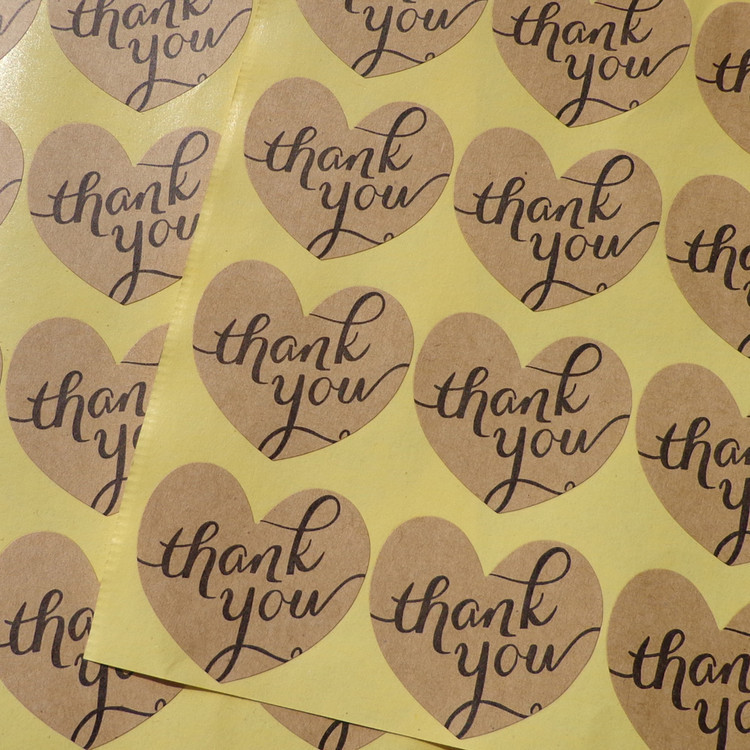 120Pcs/Lot New Vintage Thank you Love Heart Seal Sealing Label Kraft Sticker Baking DIY Work Round Gift Stickers