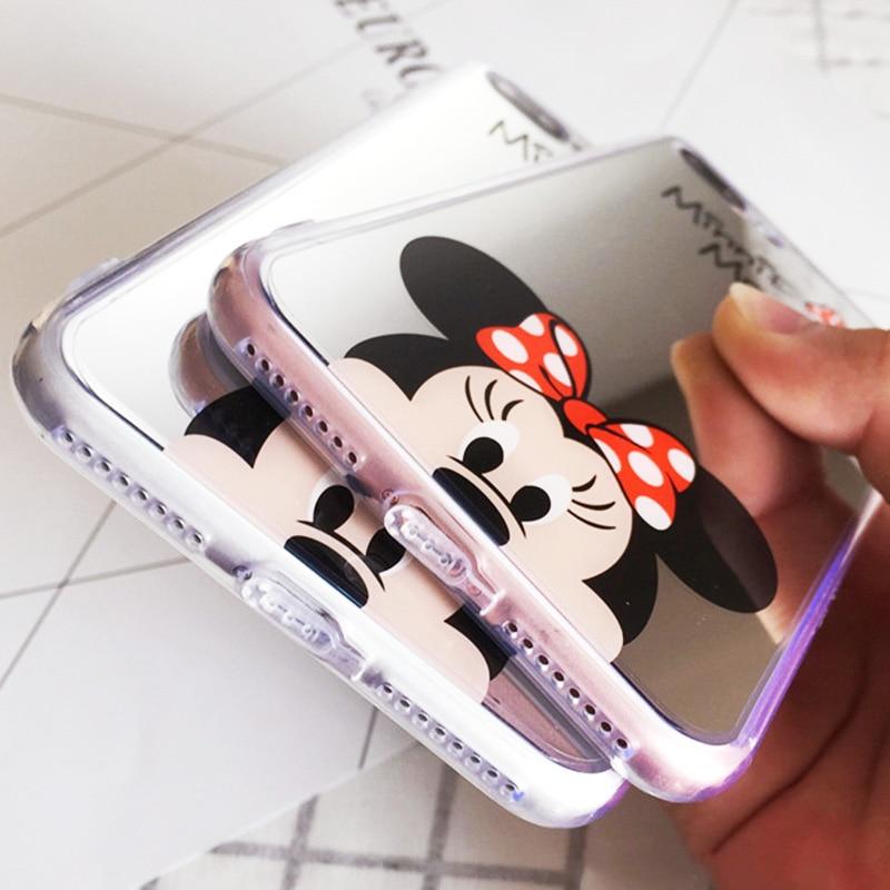 Luxury Mirror Phone Bag Case for iPhone 6S 6 s 7 8 Plus Mickey Minnie Silicone Cover for funda iPhone 8 Plus i Phone 7Plus 8Plus