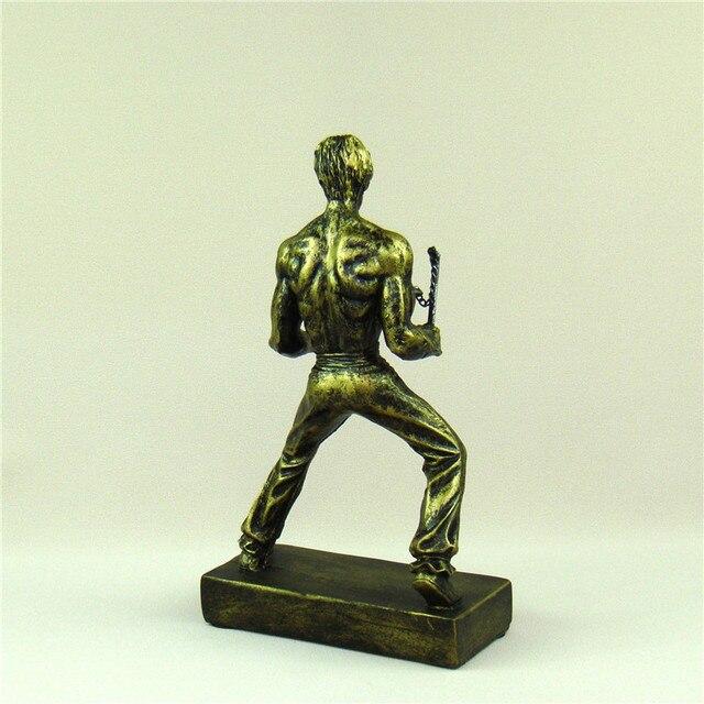 Bruce Lee Miniature Chinese Kung Fu Figure Kicking Sculpture Nunchaku Ornament Movie Star Souvenir Present Craft Art Collection 5