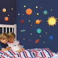 Sistema Solar adesivos de parede para quartos dos miúdos Estrelas céu espaço adesivos de parede planetas Terra Sol Saturno Mars cartaz Mural