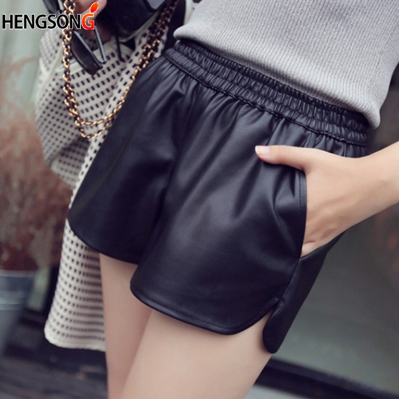 Sexy PU Leather Shorts Women's Fermuda Feminina Casual Large Size Night Club Party Wide Leg High Waist Short Pants Female