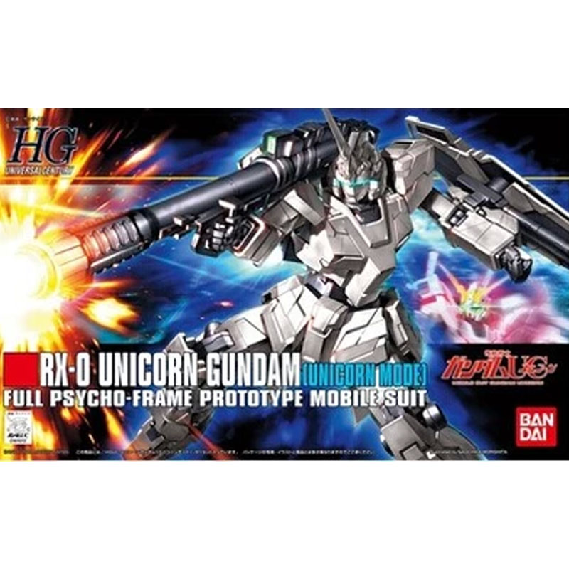 1PCS Bandai 1/144 HGUC 101 RX-0 Unicorn Gundam Mobile Suit Assembly Model Kits lbx toys education toys 0 1