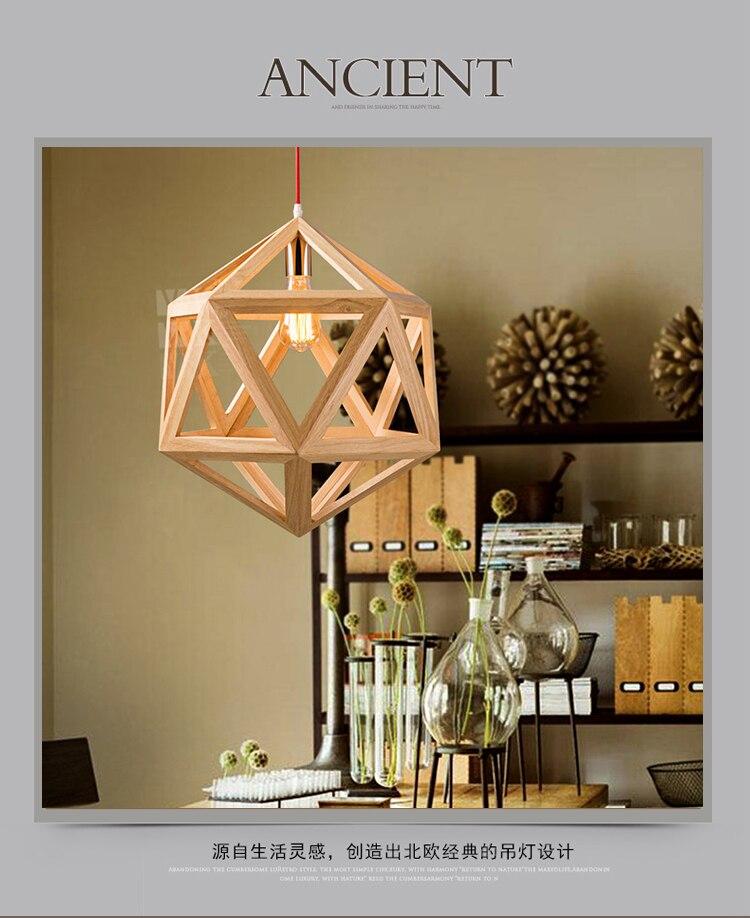 الماس النقي الطبيعي الخشب يجعل قلادة مصباح الحديثة خمر الخشب droplight الشحن المجاني-في أضواء قلادة من مصابيح وإضاءات على title=