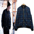 Men Plaid Baseball Jacket Korean Fashion KPOP New 2017 Checkered Pattern Mens Zippered Pocket Bomber Jacket & Coat Free Shipping