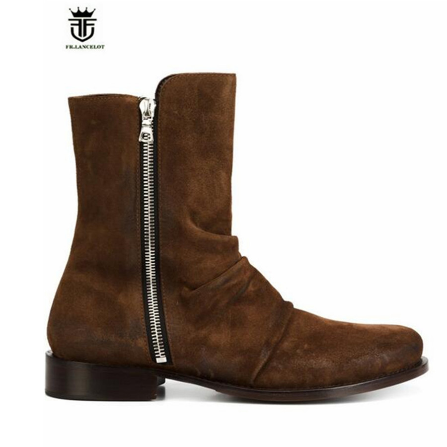 High End Handmade Customized High Top LUXURY Demin Boots men genuine Leather Personalized Suede Folds Chelsea Boots
