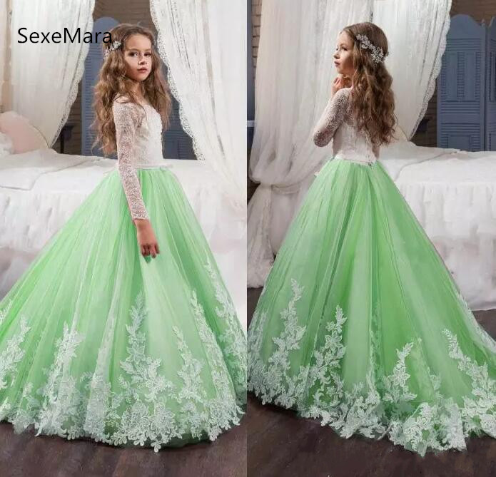 Beautiful Green and White Flower Girls Dresses Lace Appliqued Bows Pageant Gowns for Kids Wedding Party Dress Communion Gown