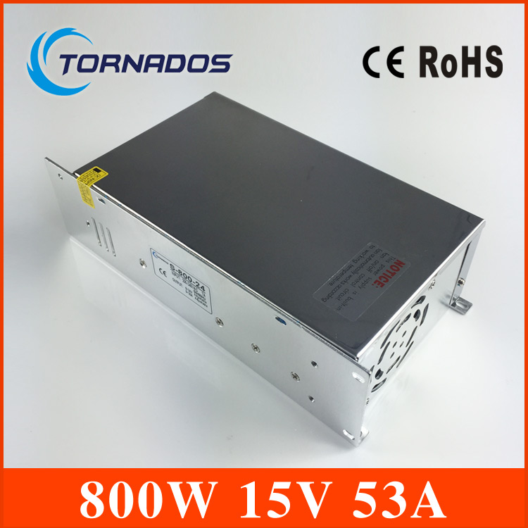 15V DC Switching Power Supply 53A 800W Driver Transformer 110V 220V AC TO DC SMPS for Industry Mechanical Equipment Light s 800 36 single output 800w 36v dc switching power supply driver transformer 220v ac to dc36v smps for cnc machine diy led cctv