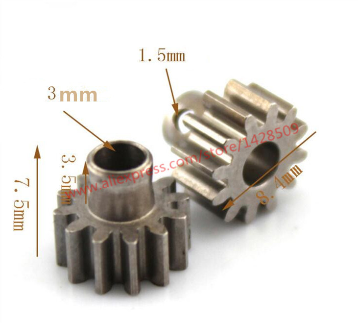 2pcs M0.6 Shaft Gear 3mm 12T Module Pinion Motor Gear For RC Buggy Monster Truck Brushed Brushless Motor
