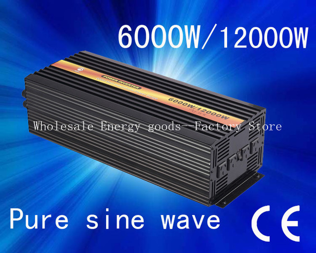 Free shipping!Power inverter DC 12v to AC 230v 50HZ 6000w pure sine wave power inverter with CE&ROHS Approved((CTP-6000W)