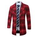 2016 Homens Da Moda Longo Coats V-Neck Inglês Xadrez de Lã casacos de Inverno Dos Homens Quentes Roupas Góticas Plus Size Luva Cheia acabamentos