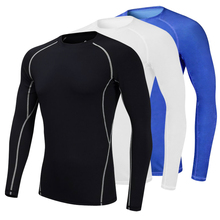 2019 New Running Compression Shirts Tights Men's Sportswear Fitness Gym Training Sports Yoga MMA Top Bodybuilding T Shirt Men