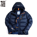TIGER FORCE 2017 Men Fashion Down Jacket Winter Down Coat Parka 80%White Duck Down European Size Detachable Hood Free Shipping