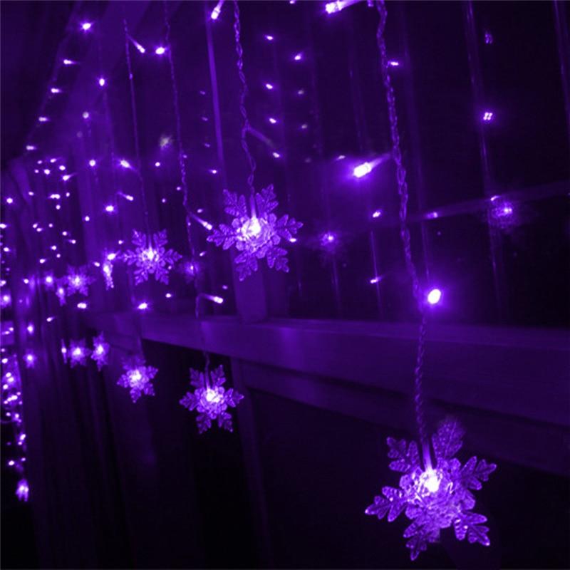 Beautiful Purple 3.5M Snowflake LED String Curtain Lights Holiday Xmas Wedding Decor For Christmas Home Garden Decoration
