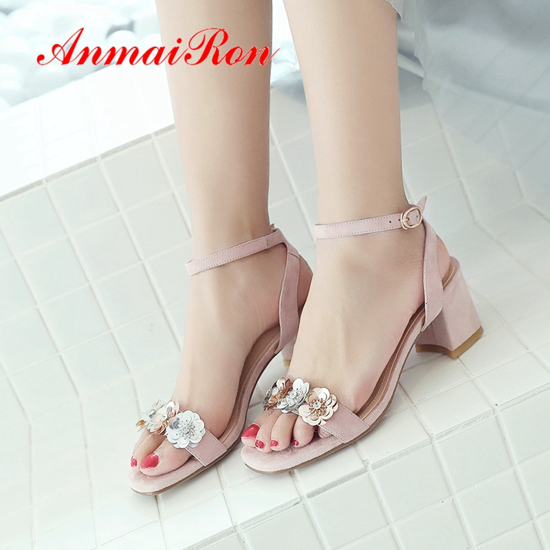 ANMAIRON 2019  Kid Suede Basic Wedding Women Summer Fashion High Heel Sandals Flower Solid Shoes Size 34-39 LY1914