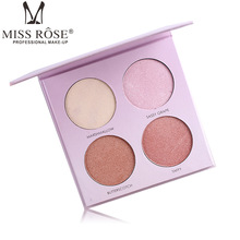 Miss Rose Makeup Palette Brighten Bronzer and Highlighter 4 Colors Shimmer Matte Contour Glow Kit 3D Face Powder Beverly Hills