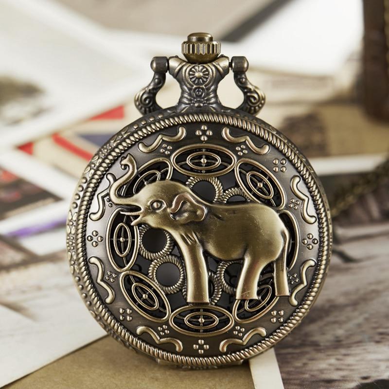 Vintage Cute Elephant Pocket Watch Fob Chain Engrave Mens Flip Necklace Watch For Men Women India Ganesha Thailand Animal Clock