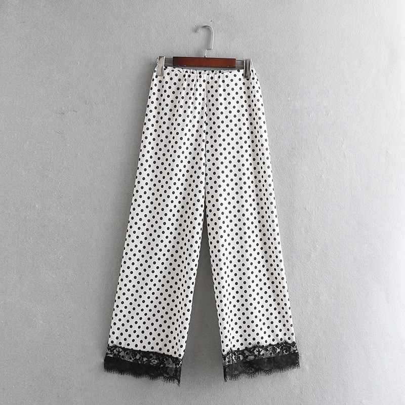 2019 Polka Dot Patchwork Lace Wide Leg Pants Women Vintage High Waist Long Trousers Casual Simple White Black Loose Pants