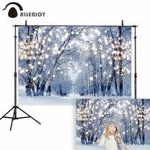 Allenjoy winter wonderland photography background photophone glitter forest christmas bokeh snow backdrop photocall photo studio