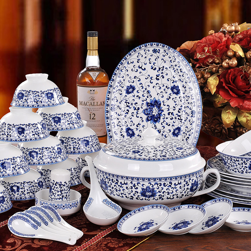 Authentic china dishes gifts tableware Jingdezhen blue and white ceramic bag mail