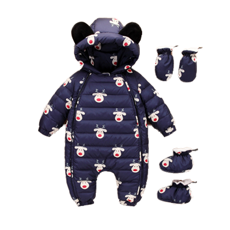 Baby Snowsuits Hooded Jumpsuit Cute Bear Down Suits For Boys Girls Clothing Warm Coat Kids Clothes Overalls Infantil Rompers 2 pcs lot newborn baby girls clothing set cute pink cotton baby rompers boys jumpsuit roupas de infantil overalls coveralls