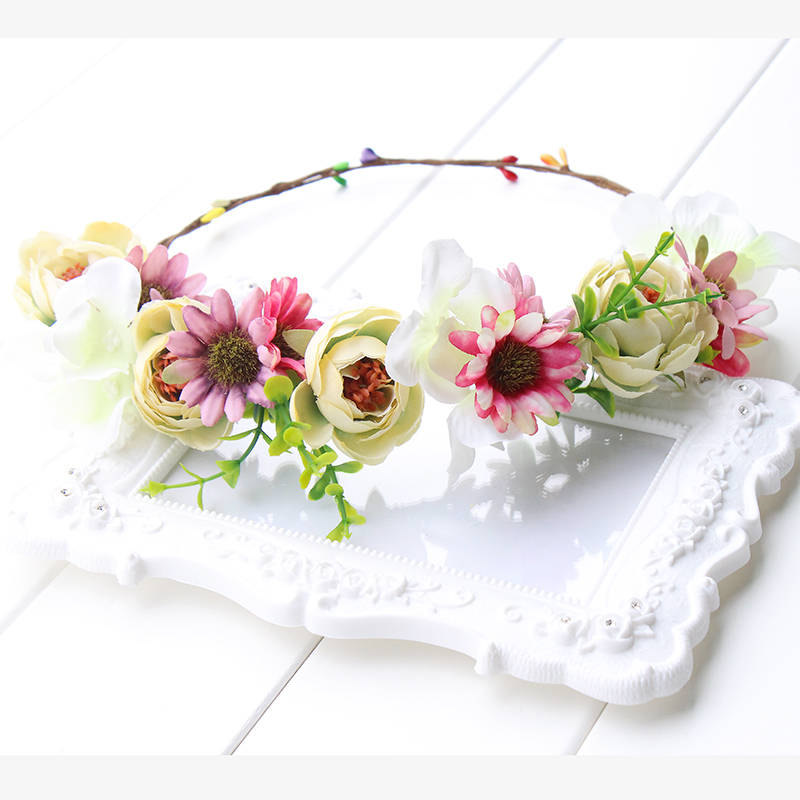 pink yellow green Flower Crown Headband Boho Hippie Festival Floral - Apparel Accessories - Photo 3
