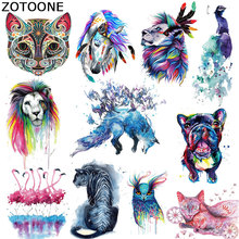 ZOTOONE Pretty Iron on Transfer Watercolor Animal Patches DIY Accessory Washable Heat Badges Clothing Bag Decoration C