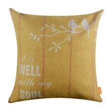 """Linkwell 18 x 18 """" Retro Yellow Bird arpillera cojín Throw almohada es bien con mi alma del monograma palabras carta"""