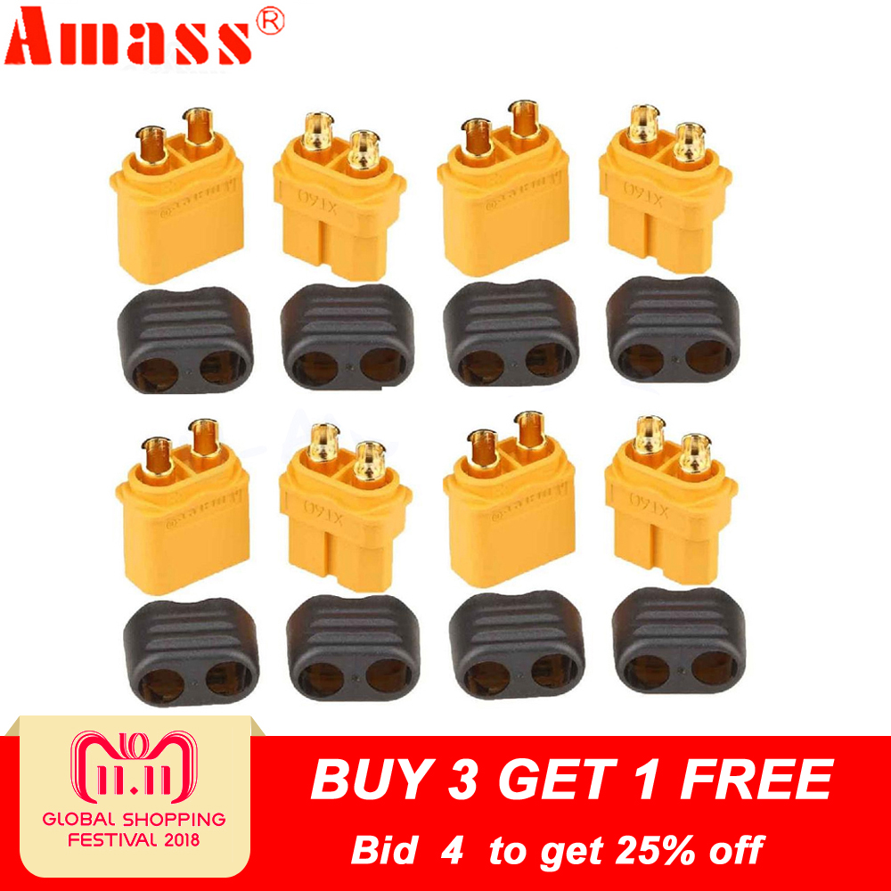 10 x Amass XT60+ Plug Connector With Sheath Housing 5 Male 5 Female (5 Pair ) lipton 0 5