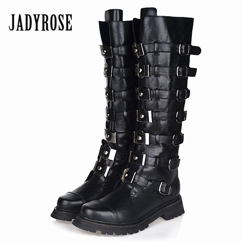 Jady Rose Women Knee High Boots Strap Buckles Women High Boots Autumn Winter Genuine Leather Rubber Shoes Woman Martin Boot jady rose handmade women genuine leather boot vintage straps buckle martin boots women mid calf rubber shoes woman botas